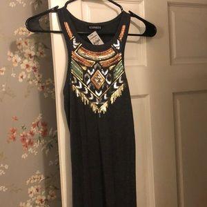 Express stretch racerback dress w embellishment
